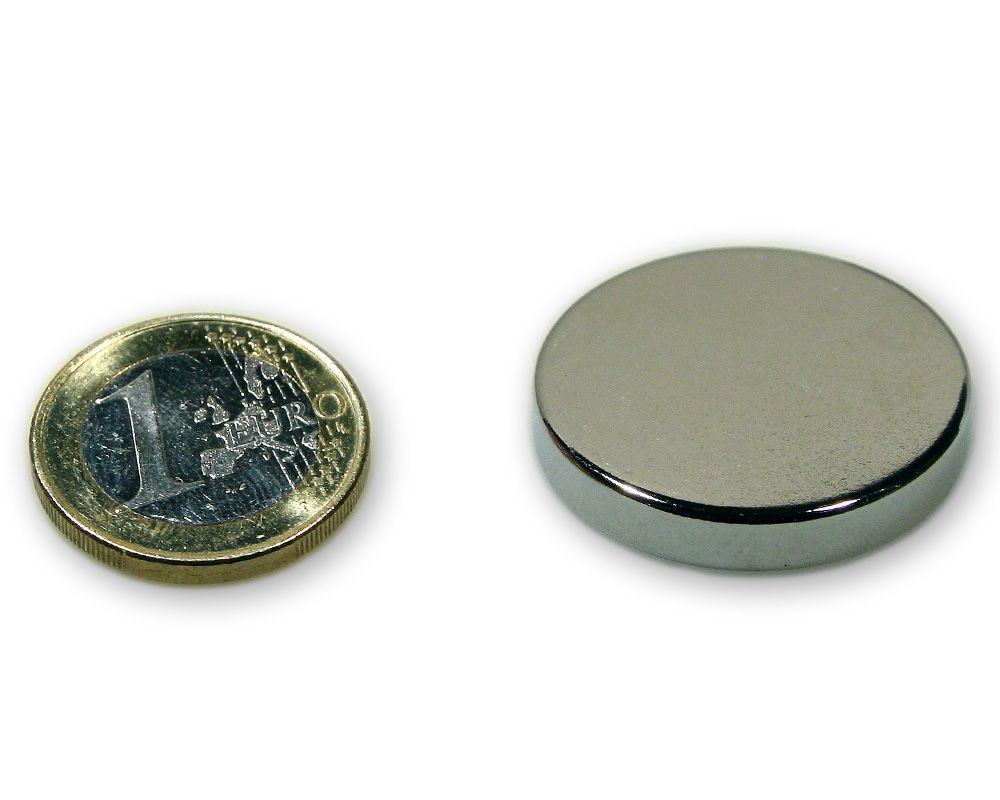 Scheibenmagnet Ø 30,0 x 5,0 mm Neodym N45 vernickelt - hält 11,0 kg
