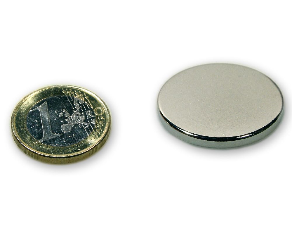 Scheibenmagnet Ø 30,0 x 3,0 mm Neodym N45 vernickelt - hält 6,5 kg