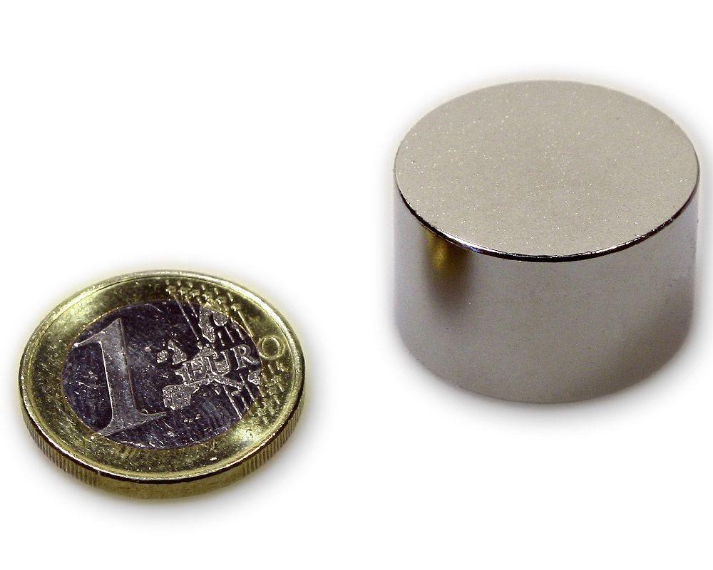 Scheibenmagnet Ø 25,0 x 15,0 mm Neodym N45 vernickelt - hält 27,0 kg