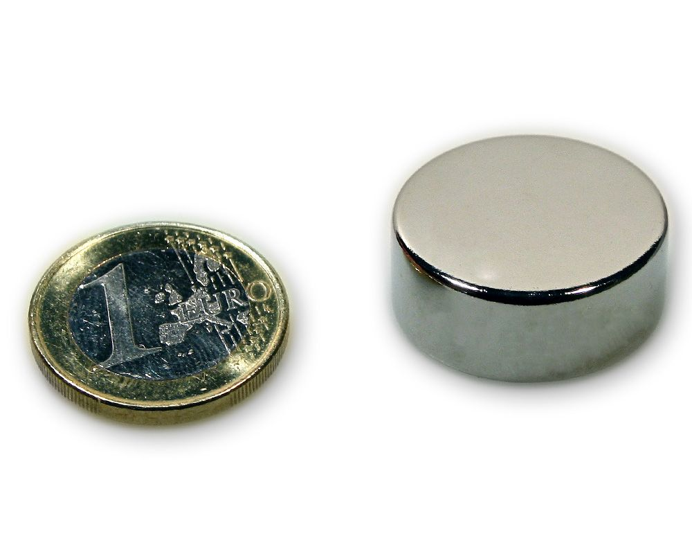 Scheibenmagnet Ø 25,0 x 10,0 mm Neodym N45 vernickelt - hält 16,0 kg