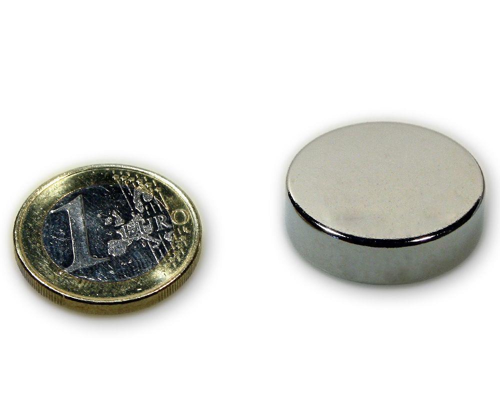 Scheibenmagnet Ø 25,0 x 7,0 mm Neodym N45 vernickelt - hält 13,0 kg