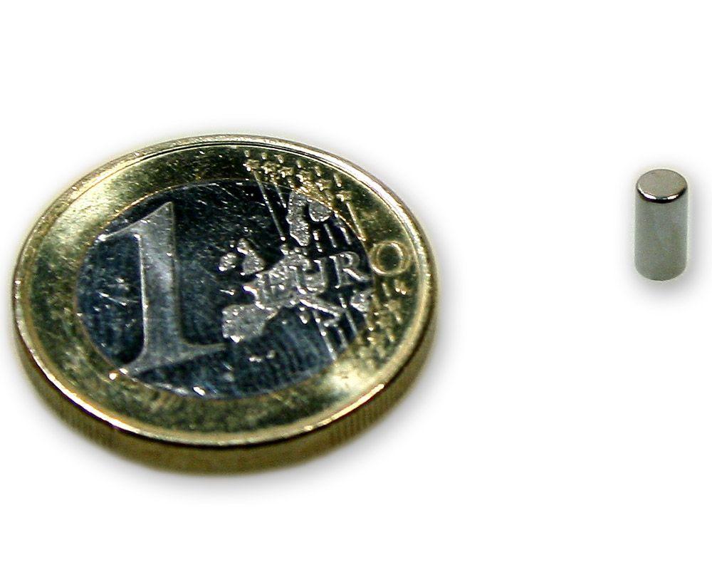 Stabmagnet Ø 3,0 x 6,0 mm Neodym N45 vernickelt - hält 450 g
