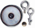 Suchmagnet / Bergemagnet mit 2 Ösen - 2 x 400 kg = 800 kg Haftkraft - 107 mm