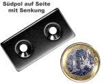 Quadermagnet 40,0 x 20,0 x 4,0 mm Neodym N35 vernickelt - 2 x 4,5 mm Senkl. Süd
