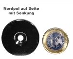 Scheibenmagnet Ø 35,0 mm x 4,0 mm Neodym N35 vernickelt - 4,5 mm Senkl. Nord
