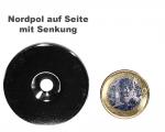 Scheibenmagnet Ø 45,0 mm x 4,0 mm Neodym N35 vernickelt - 4,5 mm Senkl. Nord