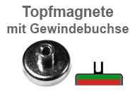 Flachgreifer-Topfmagnete mit Gewindebohrung