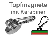Flachgreifer-Topfmagnete mit Karabiner
